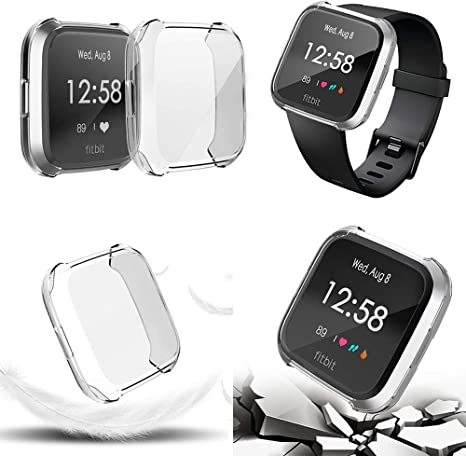 GerTong Case for Fitbit Versa Lite 2 Edition Soft TPU Plated Full Cover Screen Protector Bumper Scratch-Proof Shell Compatible with Fitbit Versa Smartwatch
