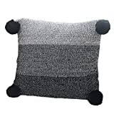 Prosshop 100% Cotton Knitted Cushion Covers, Decorative Stretchable Pillow Case for Sofa/Car/Office with Handmade Pompoms (Black)