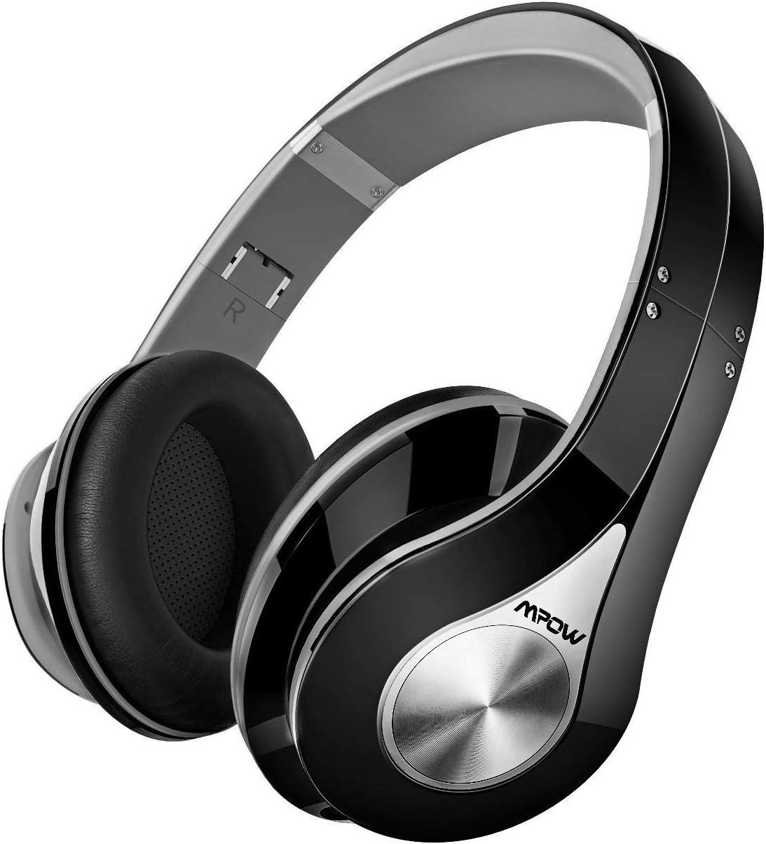 Mpow 059 Auriculares Diadema Bluetooth, 25hrs de Reproducir, Sonido Estéreo, CVC 6.0, Auriculares Diadema Inalámbricos con Micrófono, Cascos Bluetooth Diadema Plegable para TV, PC, Móvil, Gris