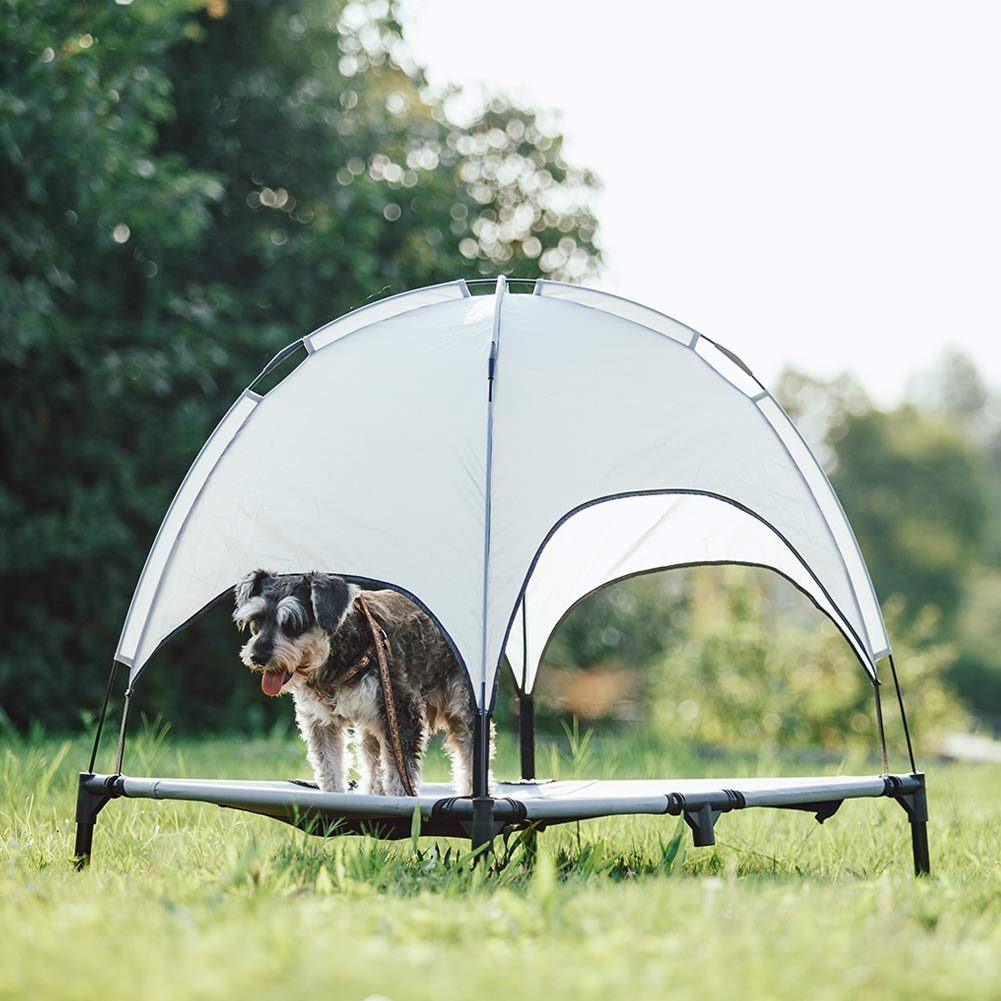SUPERJARE Large XLarge Outdoor Dog Bed Elevated Pet Cot with Canopy Portable for Camping or Beach Durable 1680D Oxford Fabric Extra Carrying Bag – Silver Gray
