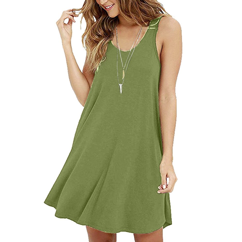 Women's Casual Solid Sleeveless Strapless Mini Dress Summer Loose O-Neck A-Line Shirt Camis Dresses Beach Sundress Green