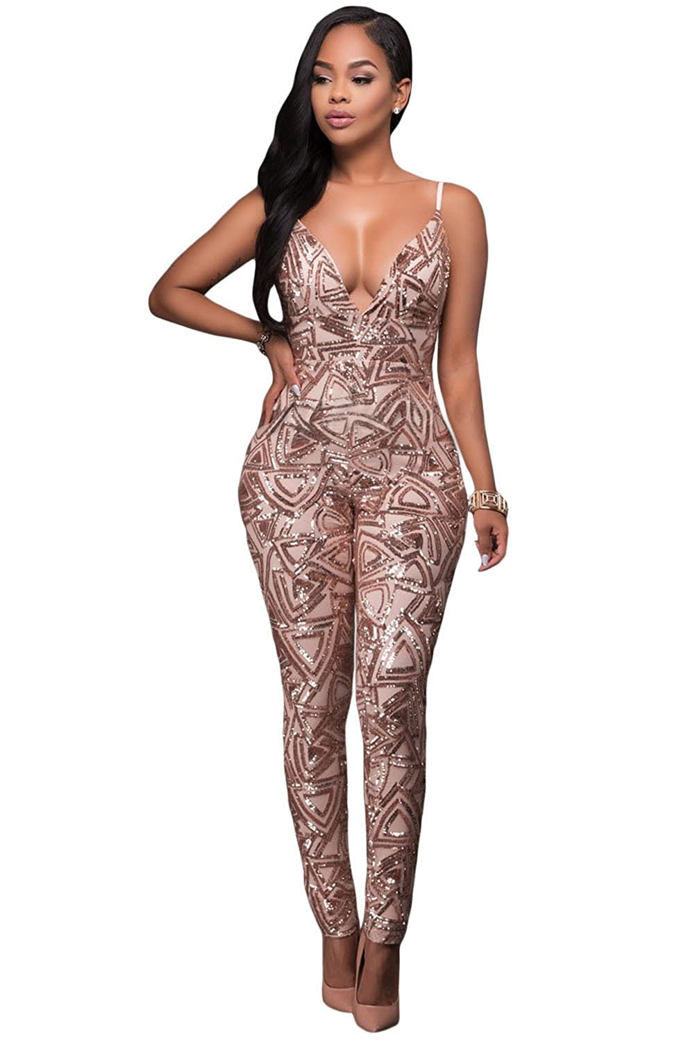 Lucklovell Women Sexy Rose Gold Sequins Bare Back Jumpsuit