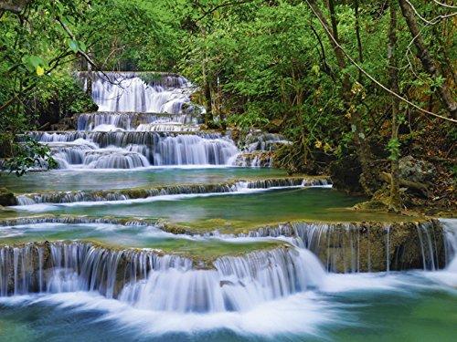 Artland Qualitätsbilder I Bild auf Leinwand Leinwandbilder lkunl Tiefen Wald Wasserfall in Kanchanaburi Thailand Landschaften Gewässer Wasserfall Fotografie Grün D1QY