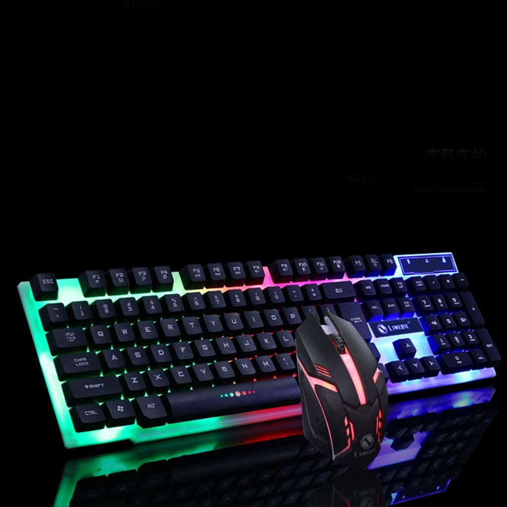 Black GT300 Colorful LED Illuminated Backlit Gaming Keyboard,USB Wired PC Rainbow Gaming Keyboard Mouse Set Mechanical Feel
