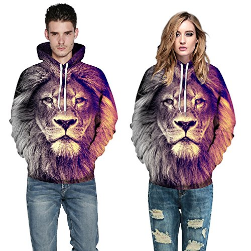 Little Hunter Plus Size Unisex 3D Digital Print Galaxy Pullover Hoodies Pockets Sweatshirt