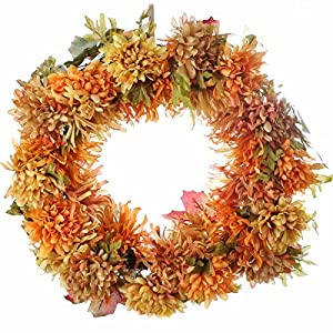 Factory Direct Craft Autumn Splendor Artificial Spider Mum Floral Wreath for Seasonal Home Decor 107