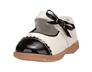 Ctshow Baby Girls Leather Flat Princess Shoes black (Toddler, Little Kid )