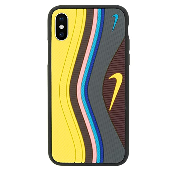 iPhone 3D Sean WUndefeated Air Max 97 Shoe Case Official Print Textured Shock Absorbing Protective Sneaker Fashion Case (Yellow, iPhone X)