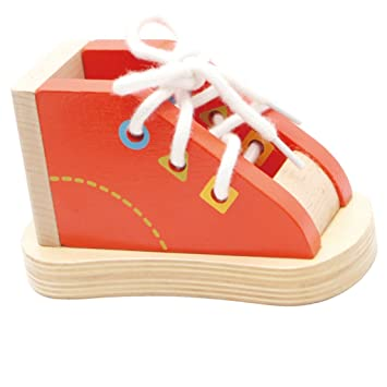 64be322fe Buy Kawn Children Learning Toys Wooden Shoe - Lacing Threading Tying Shoe  Lace Toddler Kids Teaching Aids Tie Shoelaces Toys Puzzle Game Online at  Low ...