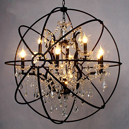 LightInTheBox Vintage Industrial 6 Island Light Traditional/Classic Painting Feature Chandeliers Metal Globe Crystal Hanging Fixture for Living Room / Game Room (Rust)