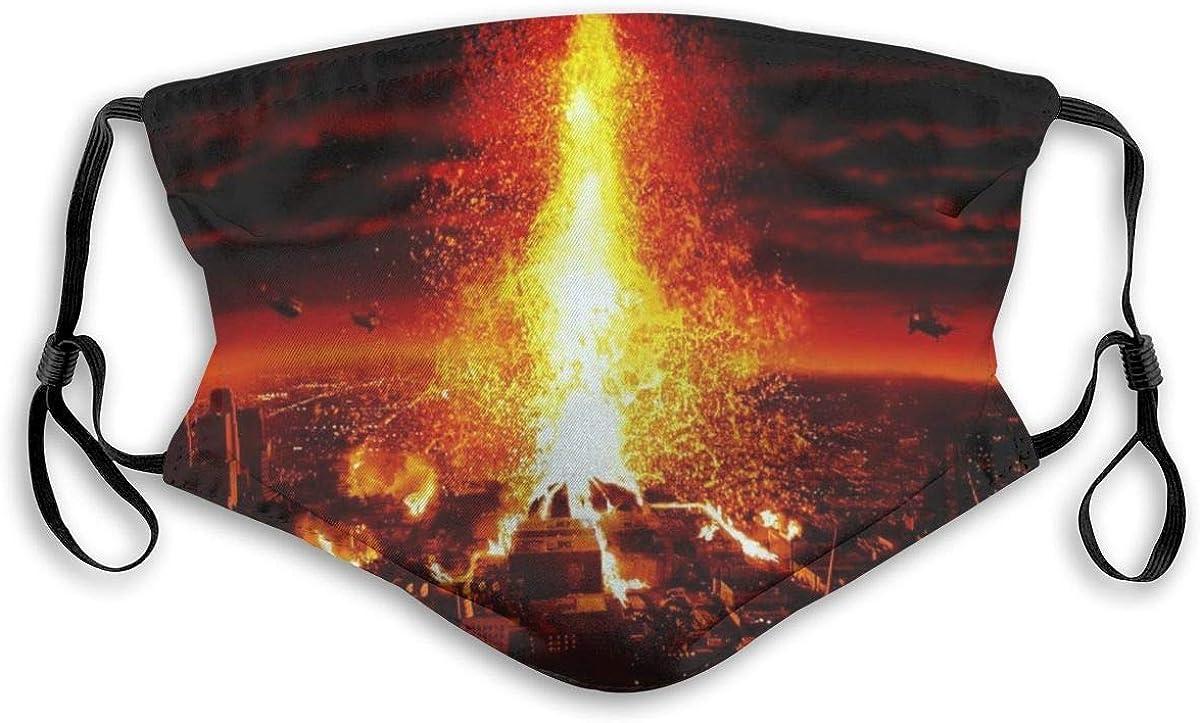 Pañuelo de fibra de PET con cinco capas de protección lavable, transpirable y reutilizable | Volcán | Divertida cubierta de polvo para adultos | hombres y mujeres | con filtro |