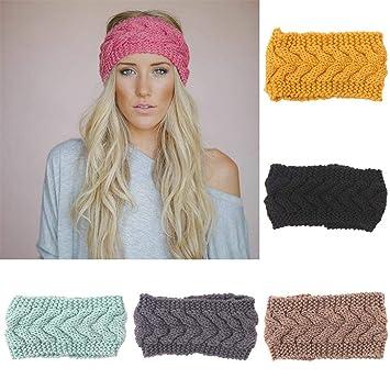 Amazon.com  Casual Wool Knit Headband Warmer Winter Braided Head ... 1cfc1f88aa1