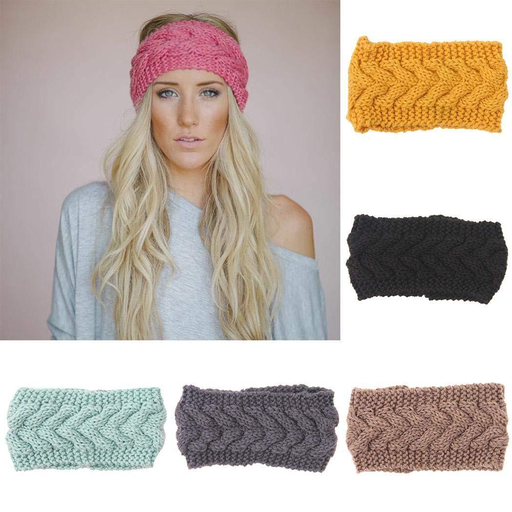Kikole Knitted Headband Crochet Twist Ear Warmer Winter Braided Head
