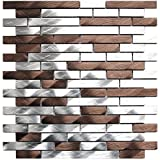 Silver And Chocolate Brick Mixed Aluminum Mosaic Tile - Kitchen Backsplash/Bath Backsplash/Wall Decor/Fireplace Surround