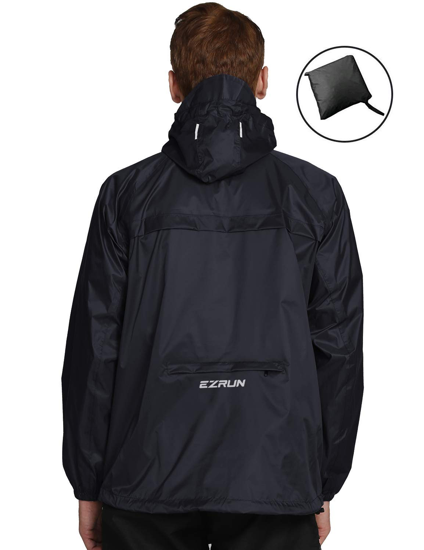 professional design classic chic cost charm EZRUN Men's Waterproof Hooded Rain Jacket Windbreaker Lightweight Packable  Raincoat