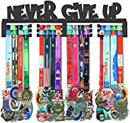 GENOVESE Medal Holder Display Hanger Rack,Black Never Give Up,Sturdy Steel Metal,Wall Mounted Race Medals