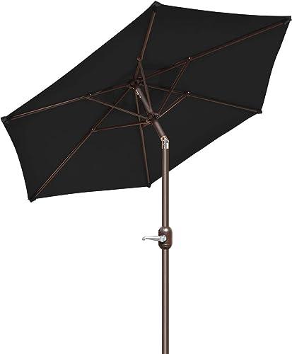 Strong Camel 6.5FT Outdoor Patio Umbrella Table Sunshade Market Umbrella with Crank Black