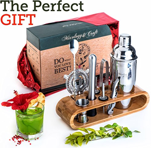 Mixology Bartender Kit: 10-Piece Bar Tool Set with Stylish Bamboo Stand - Perfect Home Bartending Kit and Cocktail Shaker Set For an Awesome Drink Mixing Experience - Exclusive Cocktail Recipes Bonus by Mixology & Craft (Image #2)