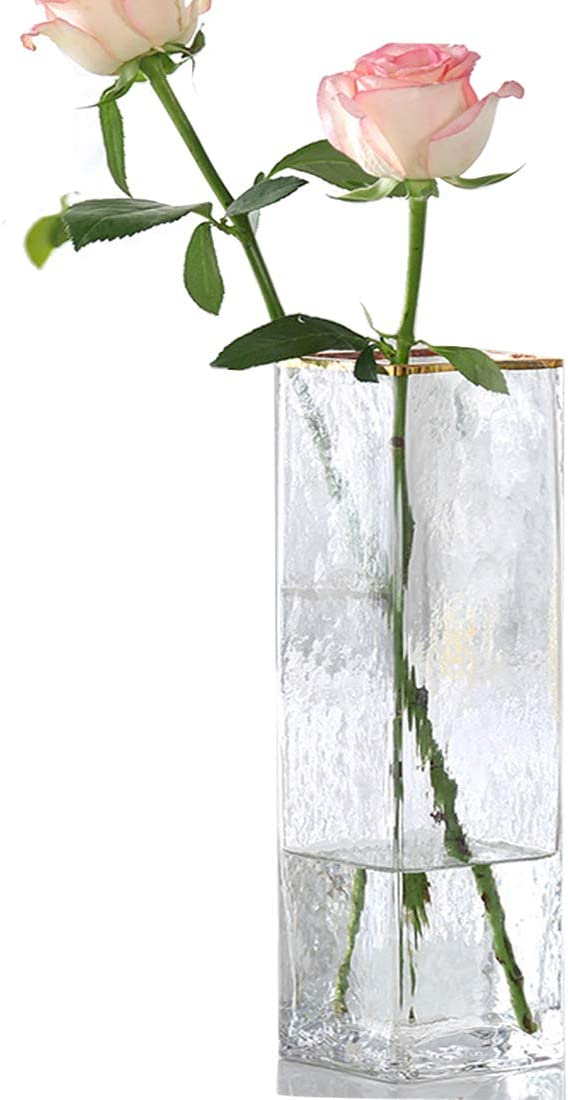 Gelible Glass Vase Geometric Striation Flowers Vase,Mouth-Golden-Style. Decorative for Home,Office,Wedding,Holiday,Party Celebrate (Clear)