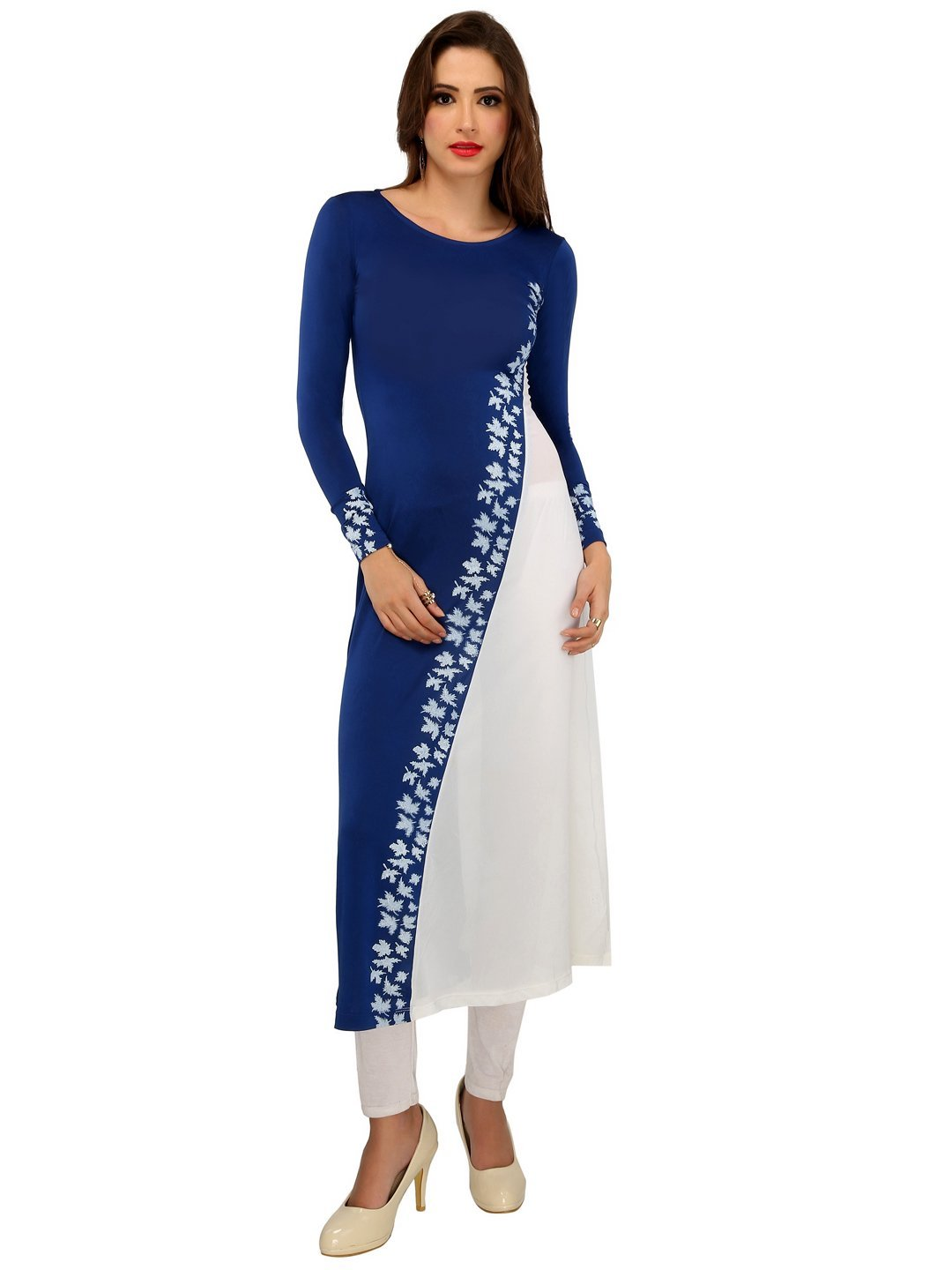 Ira Soleil Blue Poly knit stretch & Georgette womens long kurti,Blue,XS by Ira Soleil