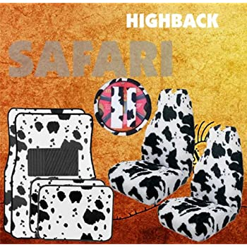 Amazon.com: 5PC Black & White Cow Print Front High Back Seat Covers ...