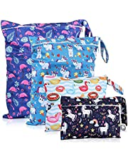 FLOCK THREE 4pcs Waterproof and Reusable Wet Bag Diaper Stroller Water Resistant Swimsuit Travel Toiletries Yoga Gym Washable Carrier Small Medium Large 4 Pack