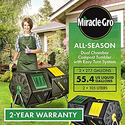 Miracle-Gro Large Dual Chamber Compost Tumbler – Easy-Turn, Fast-Working System – All-Season, Heavy-Duty, High Volume Composter with 2 Sliding Doors + Free Scotts Gardening Gloves (2 – 27.7gal/105L) by DF OMER