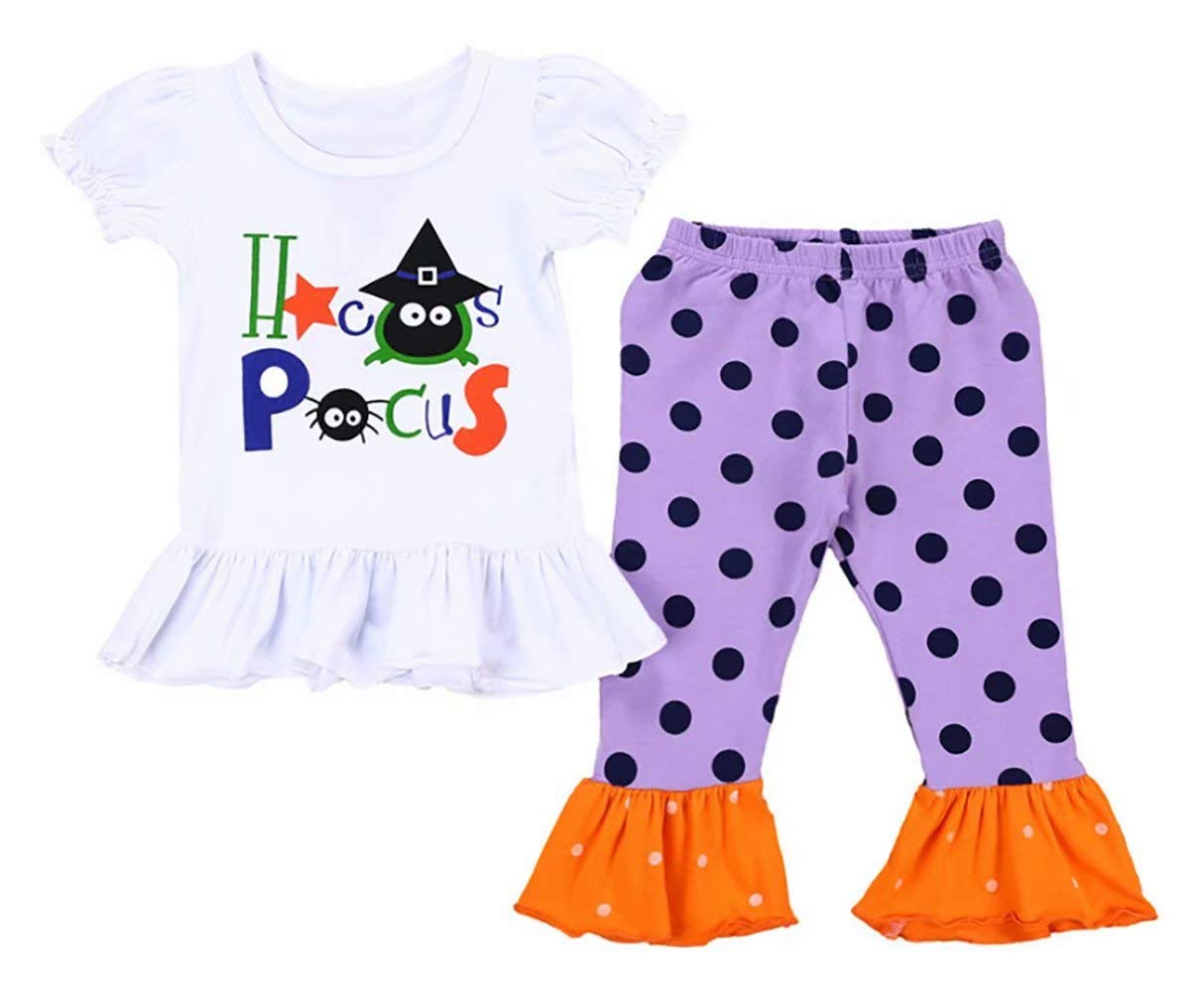 UNIQUEONE 2Pcs Toddler Girls Halloween Outfits Hocus Pocus T-Shirt Tops+Polka Dot Bellbottoms Pants Size 18-24 Months/Tag100 (White)