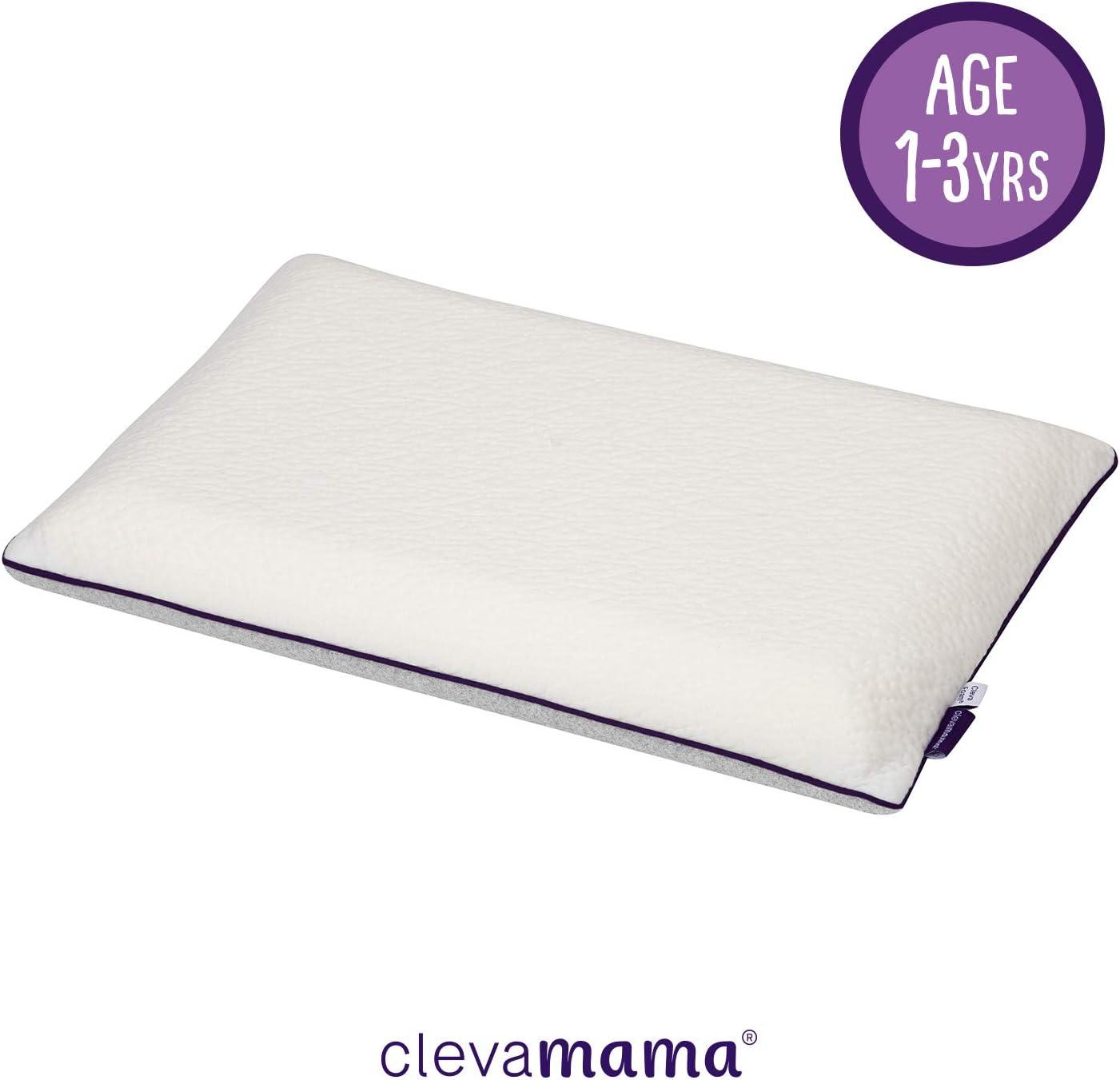 ClevaMama Almohada para niños con ClevaFoam, transpirable y antialérgica, ayuda a la alineación correcta de la columna vertebral, para niños de 1 - 2 - 3 año cm