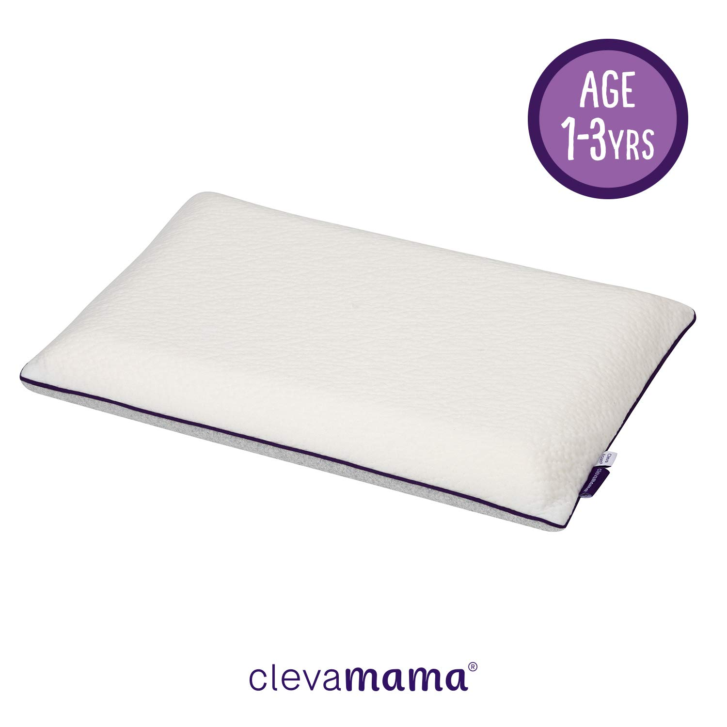 ClevaMama ClevaFoam Toddler Pillow - Breathable Kids Pillow to Prevent Flat Head Syndrome +12 Months