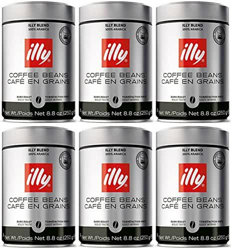 Illy Scuro Whole Bean Coffee Dark Roast Cans - 8.8 Oz (Pack of 6)