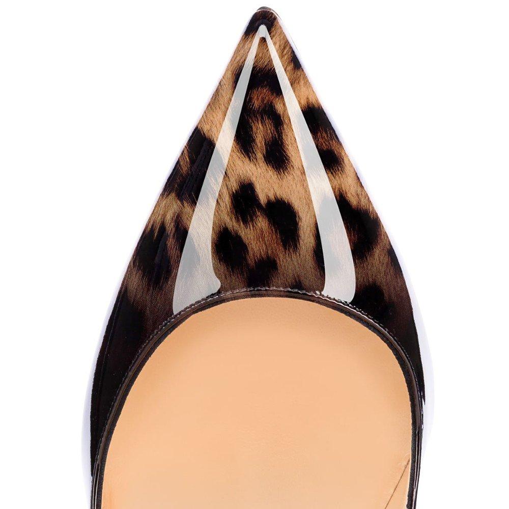 Eldof Women Low Heels Pumps | Pointed Toe Slingback Flat Pumps | 2cm Classic Elegante Court Shoes B07C85YPGL 7 B(M) US|Patent Leopard-black