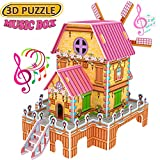 Magic 3D Puzzle Jigsaw Windmill Dollhouse Model DIY Educational Toy for Kids with Music,Best Creative Learning Gifts for Girls Boys Birthday-23PCS