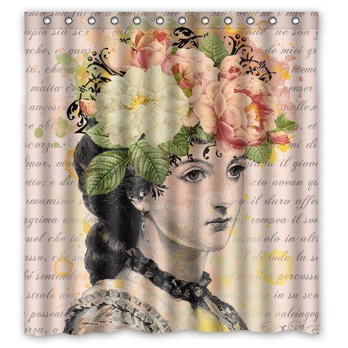 Lina Cavalieri Shower Curtain - Fornasetti - Lina Cavalieri Vintage Print - Shabby Chic, Shower Curtain - Home Decor - bath Home Decor