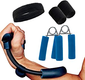 PLIMUSROCK Hand Grip Wrist Strengthener Exerciser Workout Kit (5 in 1 Bundle Pack) Forearm Grip Adjustable Resistance Hand Gripper with Wristband Set and Headband for Home, Gym & Athletes