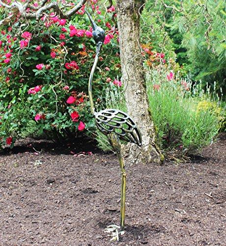 Crane Garden Statue - Seraphic Cast Iron Garden Decor Crane Bird Statue, Rustic Bronze