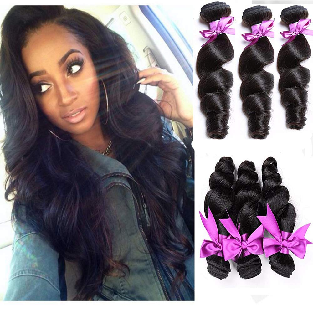 A2ZWIG 9A Unprocessed Brazilian Virgin Loose Wave Remy Human Hair Extensions Weaves Wefts 3/4 Bundles (12 14 16 Inch)