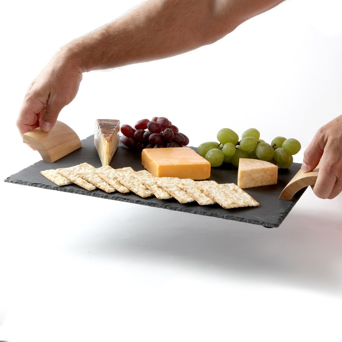 Lily's Home Rustic Slate Cheese Board with Wooden Handles and Chalk, Cheese Tray, 16 X 12 Inch. by Lily's (Image #3)