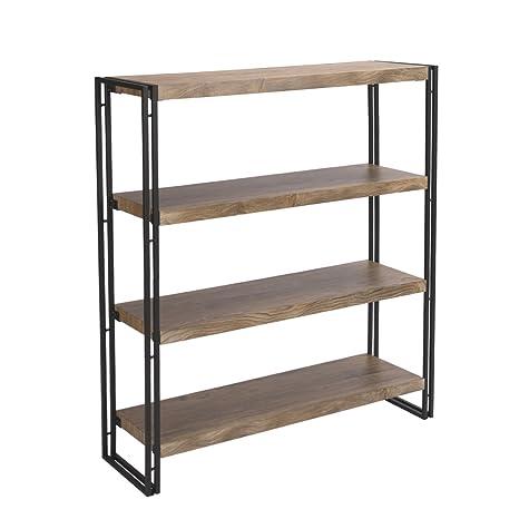 FIVEGIVEN 4 Tier Bookshelf Rustic Industrial Bookcase Etagere Open Office  Book Shelf, Sonoma Oak