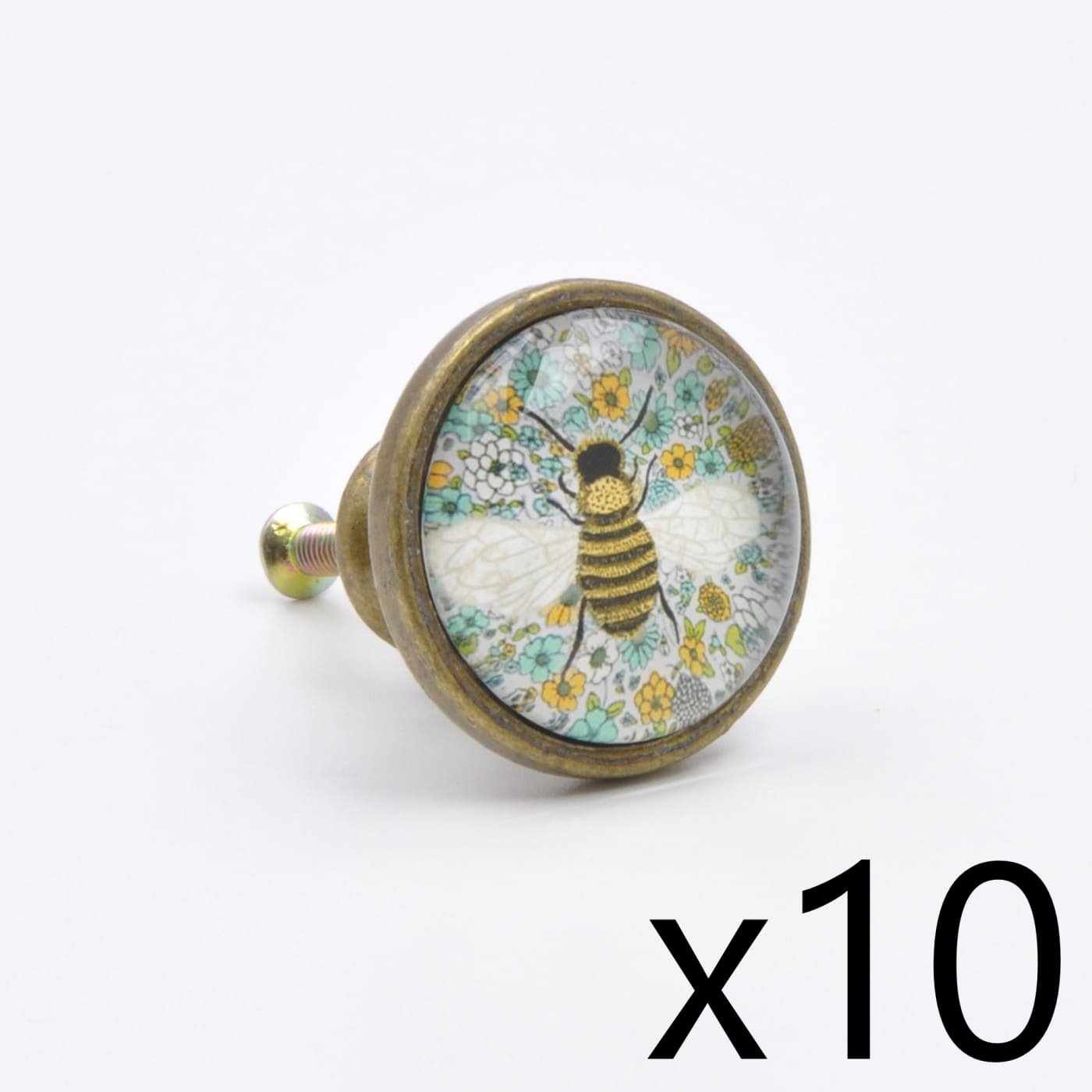 (10 Piece Set of) Vintage Bee Print Knob, Pull, Handle, for Cupboards, Doors, Cabinets, Drawers, Furniture & Kitchens (Includes Hardware for Fitting) 3.37 cm diameter 1.75 cm rod length abodent.com