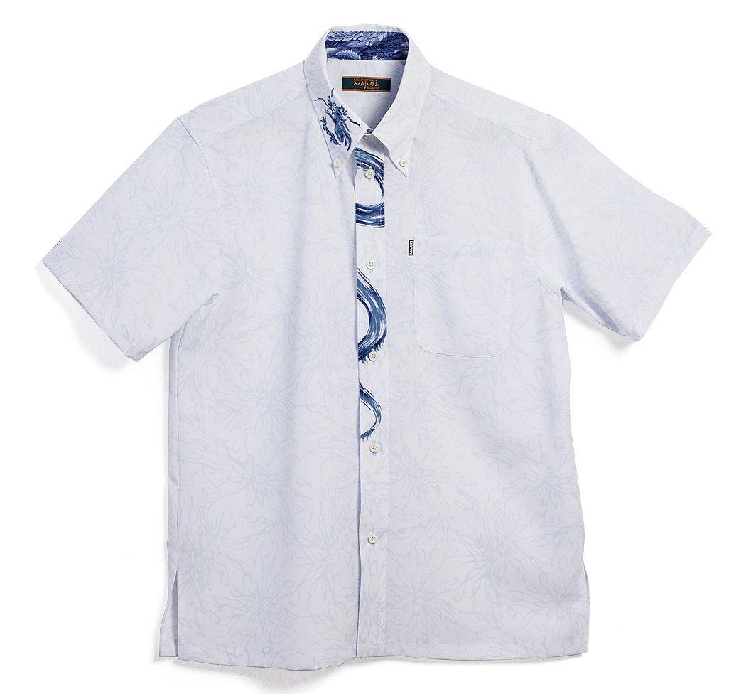 MAJUN (マジュン) かりゆしウェア アロハシャツ かりゆし 結婚式 メンズ 半袖シャツ ボタンダウン ブラッシュドラゴン B07BNKN5GM M ブルー ブルー M