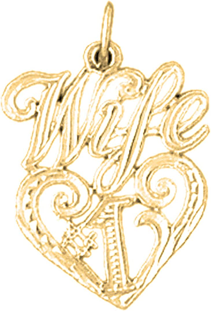 Jewels Obsession Silver #1 Wife Pendant 14K Yellow Gold-plated 925 Silver #1 Wife Pendant