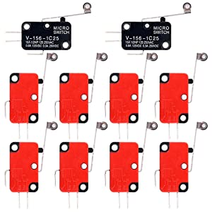 Swpeet 10Pcs V-156-1C25 Micro Limit Switch Long Hinge Roller Momentary Cherry Push Button SPDT Snap Action Perfect for Arduino, Appliance and Electronic Equipment