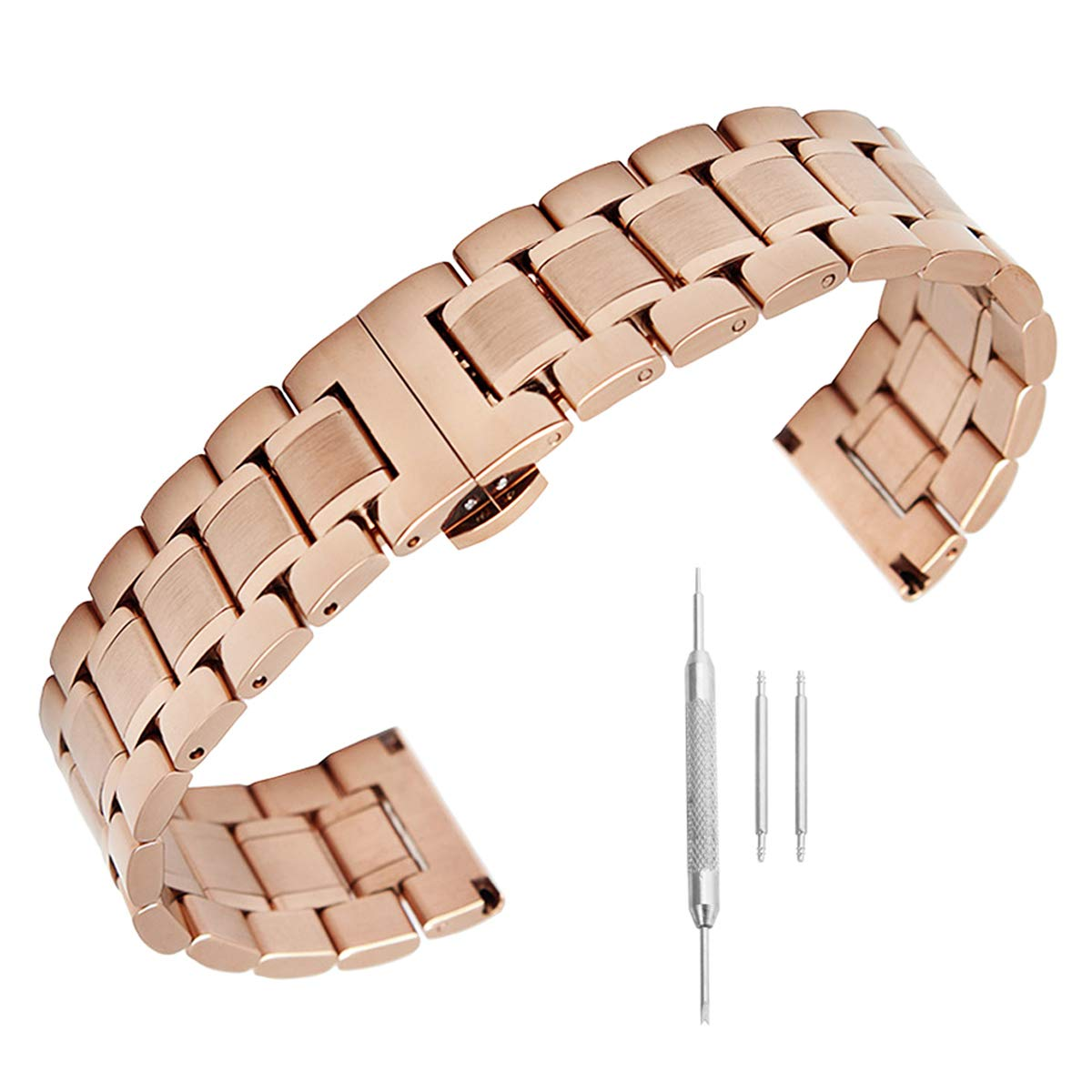 14mm 16mm 17mm 18mm 19mm 21mm 22mm 23mm 24mm Stainless Steel Watch Band Men Wrist Premium Strap Rose Gold