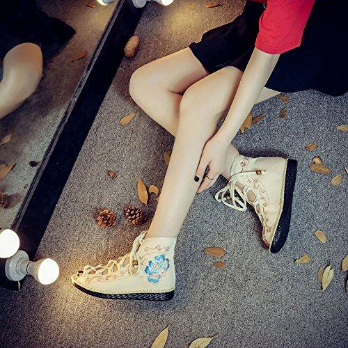 Costumbres étnicas Zapatos Cosen Mujeres Zapatos Las de Mano Verano del Las Los Los los Bordado KIKIGOAL Beige las a Cargadores del Sandalias BwnEq500g