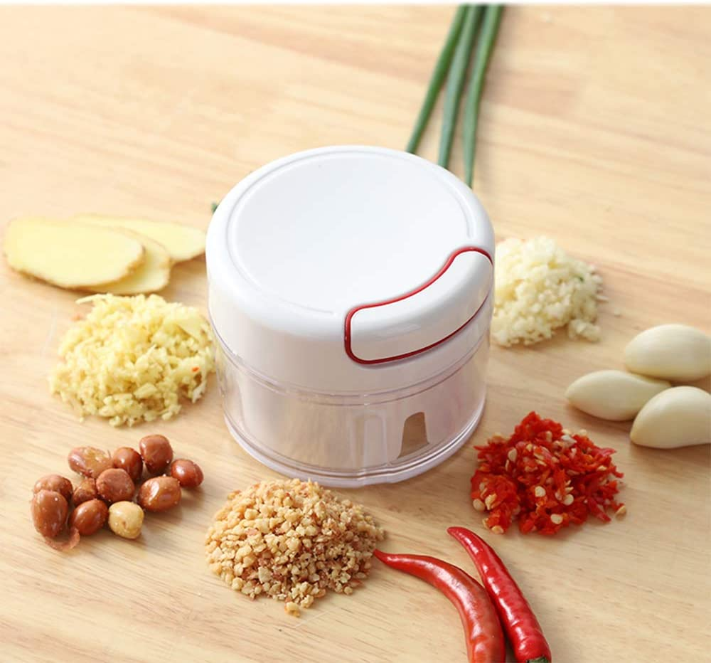 Manual Garlic Press Meat Grinder,Mini Multi-function Food Processor, Thick Blades, Suitable for Cutting Vegetables Fruits Garlic (White)