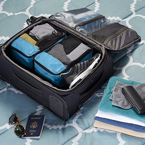 61XOI03ozCL - AmazonBasics 4 Piece Small Packing Travel Organizer Cubes Set - Sky Blue