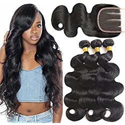 Mermaid Hair 8A Brazilian Body Wave Virgin Hair 3 Bundles With Closure 100% Unprocessed Human Hair Weave With Lace Closure Natural Black Color (14 16 18+12 Three Part)