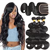 8A Brazilian Virgin Hair Body Wave 3 Bundles With 4x4 Three Part Lace Closure 100% Unprocessed Human Hair Weave (18 20 22+16 Three Part)