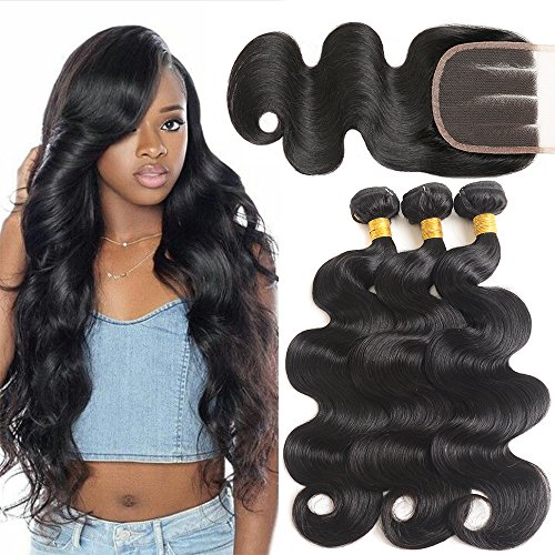 8A Brazilian Virgin Hair Body Wave 3 Bundles With 4x4 Three Part Lace Closure 100% Unprocessed Human Hair Weave (18 20 22+16 Three Part) by Mermaid Hair Store